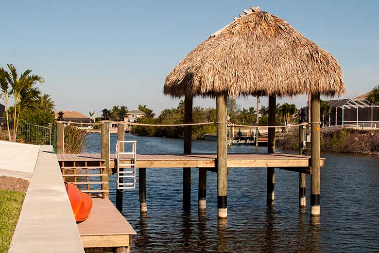 and for the swfl climate makes tiki hut the ideal choice for enhancing waterfront decor - Tiki Hut