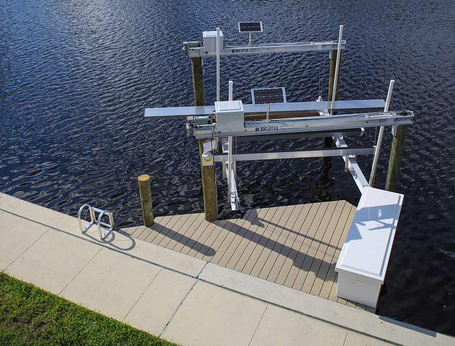 Boat Lift Walk Boards : Cape coral dock builder photo gallery solar photos